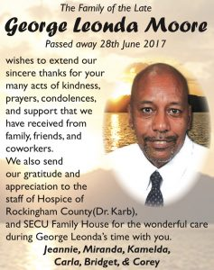 George Leonda Moore- family card of thanks